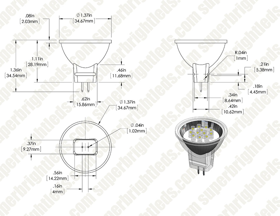 MR11 LED Bulb - 12 LED Bi-Pin Flood Light Bulb/Spotlight Bulb