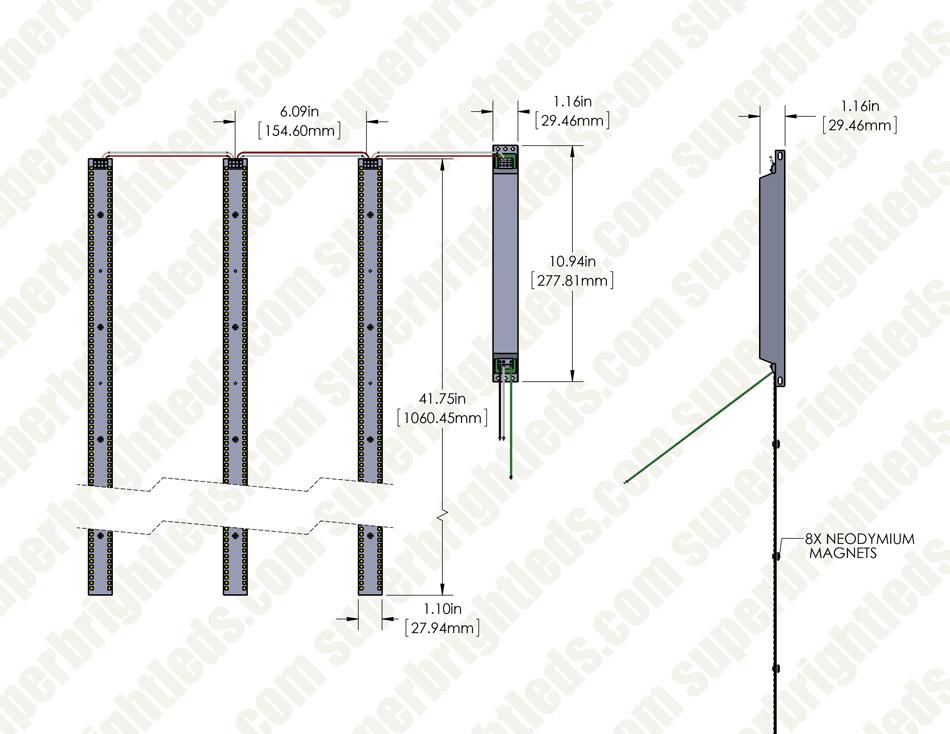 50w Led Magnetic Strip Kit Three 4ft Pcs And Led Driver