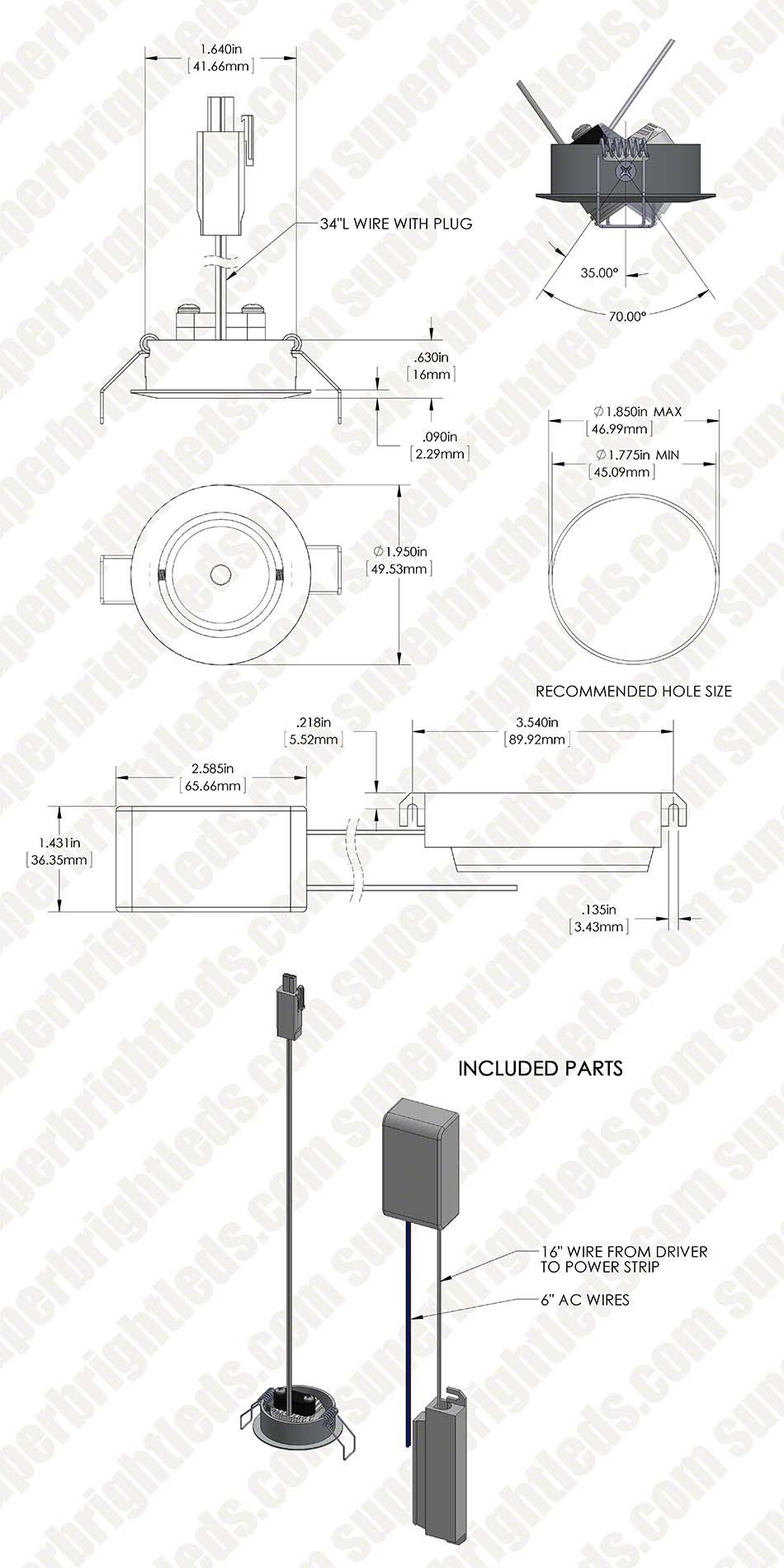 1 watt led aimable downlight kit
