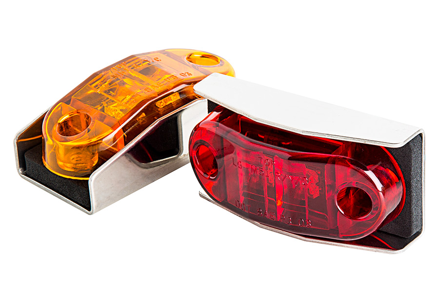 2 Red LED 19 Series Marker Lights w//Chrome Brackets