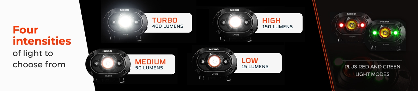 NEBO MYCRO Headlamp Light Modes and Colors