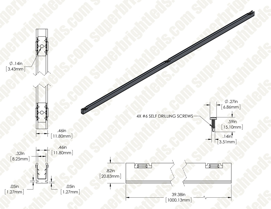 Aluminum Mounting Profile for Flexible LED Neon Strip Lights - Permanent Mount - 1M
