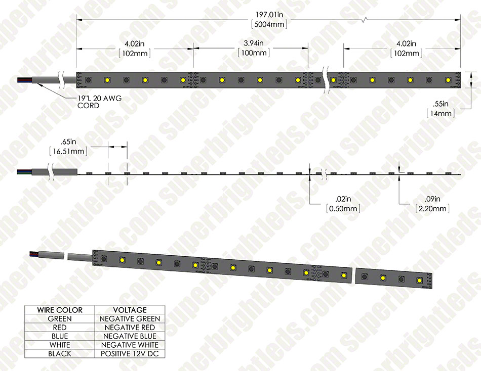 LED Light Strips with Multi Color + White LEDs - LED Tape Light with 18 SMDs/ft., 3 Chip RGBW SMD LED 5050