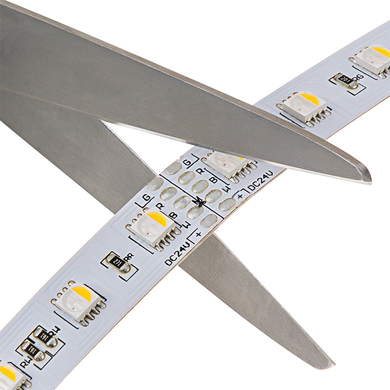 Rgbw led strip lights 24v led tape light w white and multicolor led light strips with multi color white leds led tape light with 18 smdsft 3 chip rgbw smd led 5050 strips may be cut at the locations indicated by aloadofball Image collections