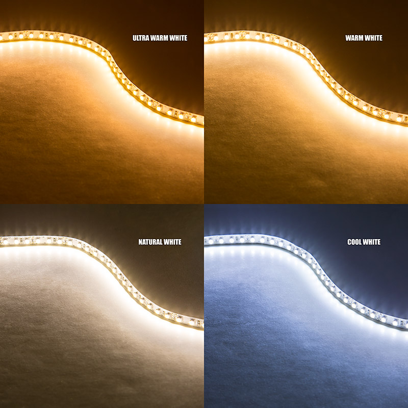 Led strip lights 12v led tape light w lc2 connector 268 lumens high power led flexible light strip nfls x600 wht turned on showing ultra warm white warm white natural white cool white mozeypictures