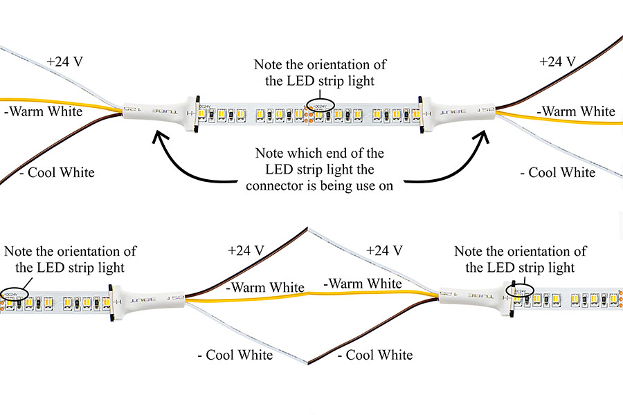 Led strip lights tunable white flexible led tape light with 36 led light strips variable color temperature flexible led tape light with 36 smdsft 2 chip smd led 3528 how to use connectors on vct led strips mozeypictures Images