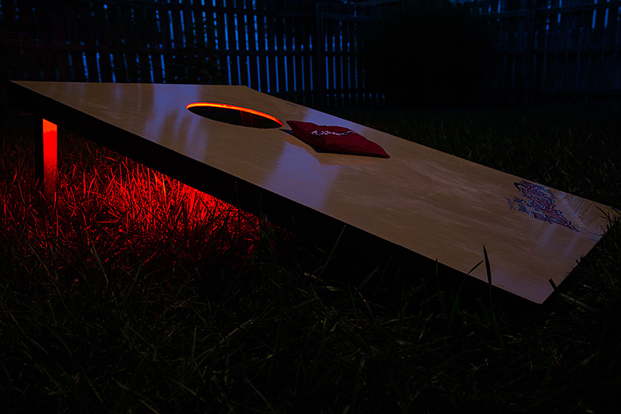 Battery powered led light strips kit single color 2 portable led battery powered led light strips kit single color 2 portable led light strips installed on cornhole game aloadofball Image collections