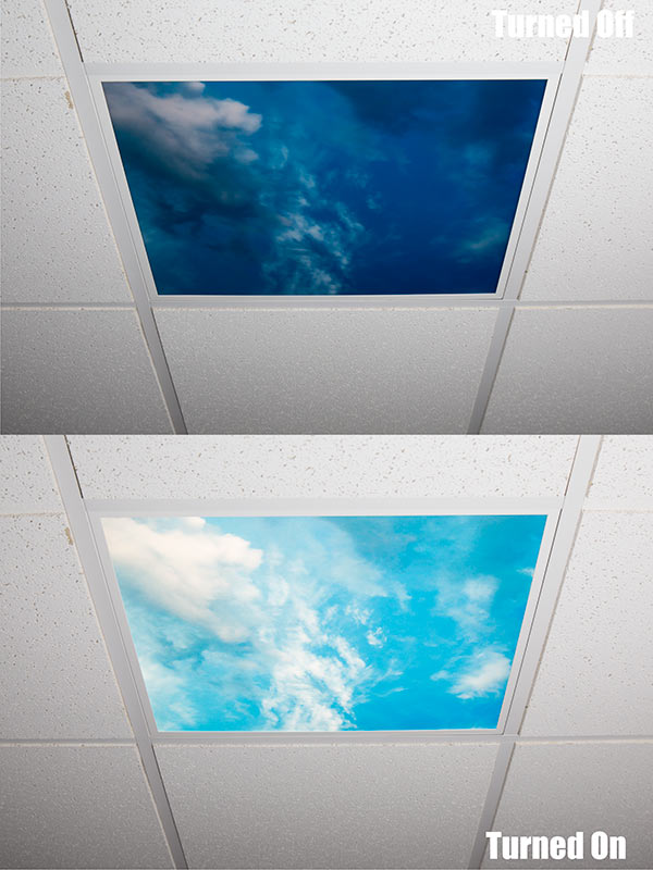 Even Glow LED Panel Light   Summer Sky LUXART Print   Dimmable   2u0027 X 4u0027u0027:  Turned Off And Turned On In Ceiling. 2 X 2 Version, Similar Print For  Imagery.