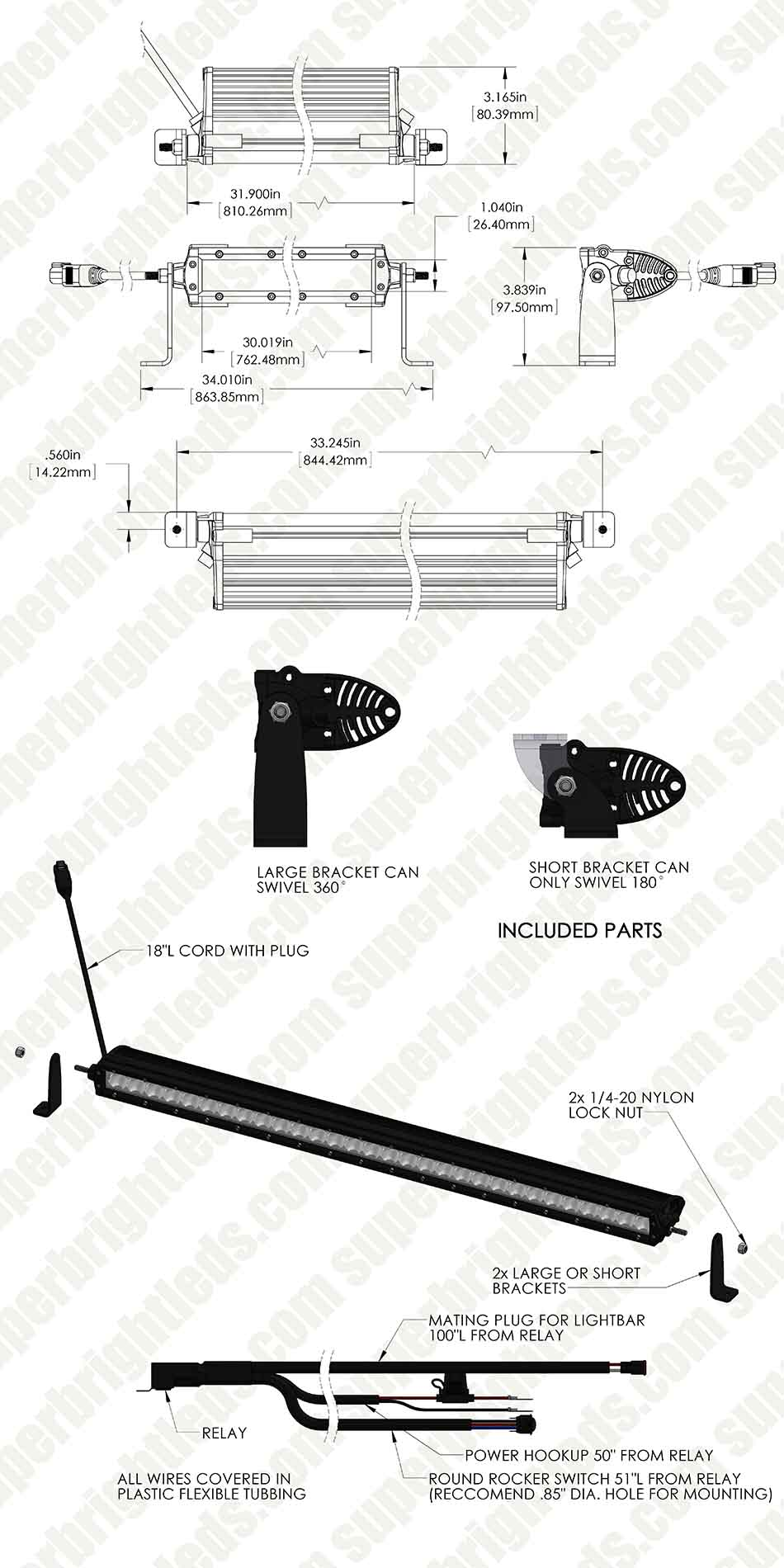 "30"" Off Road LED Light Bar Kit with Spot/Flood Combo Beam - 150W"