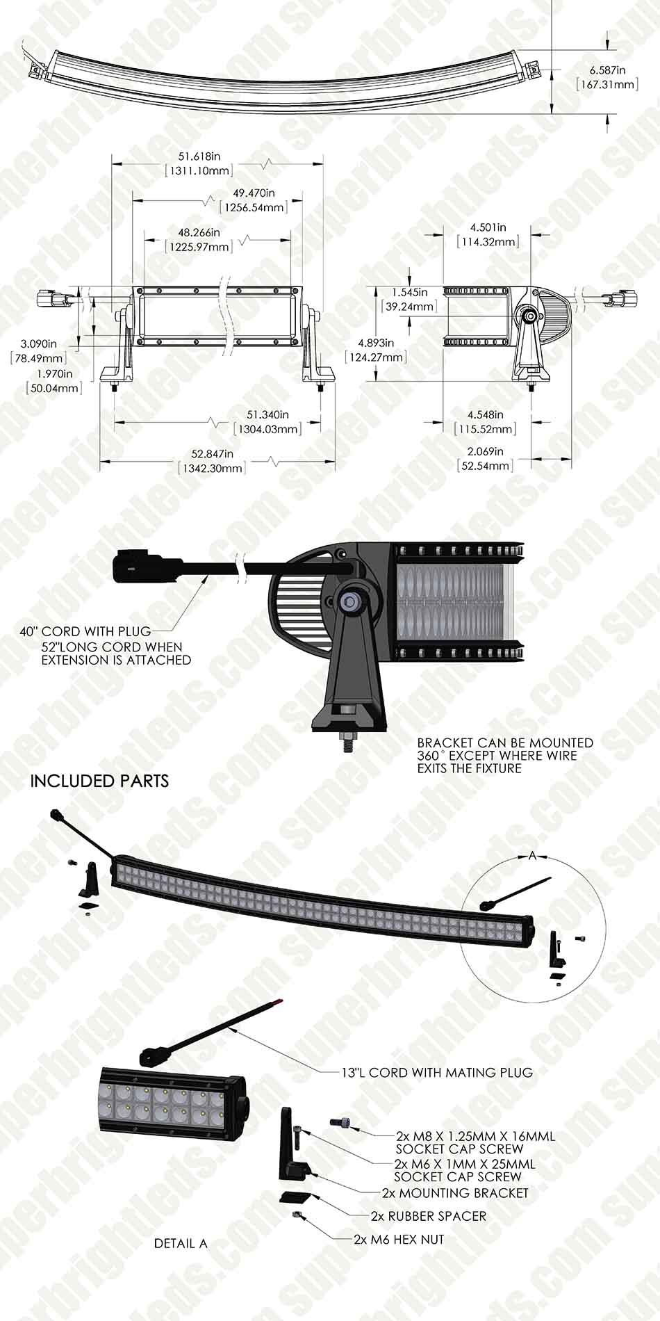 Curving Led Wiring Diagram For Use Blog About Diagrams M8 3 Pin 50 Off Road Curved Light Bar 231w 23040 Lumens Super Lamp