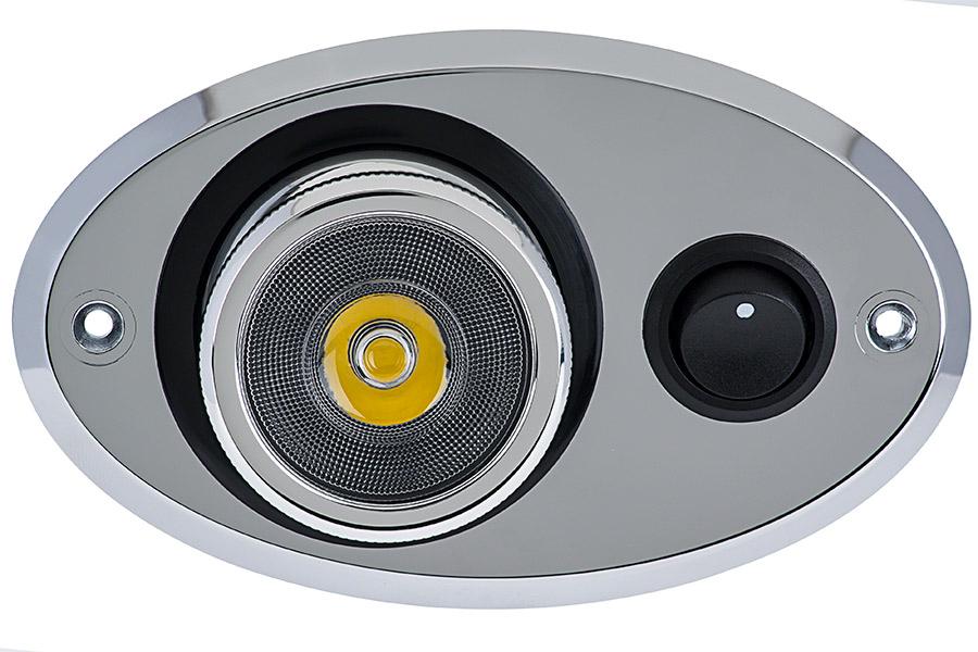 Adjustable LED Map\/Dome Light w\/ Switch - Truck, RV, Marine, Cabin LED Reading Light - Chrome