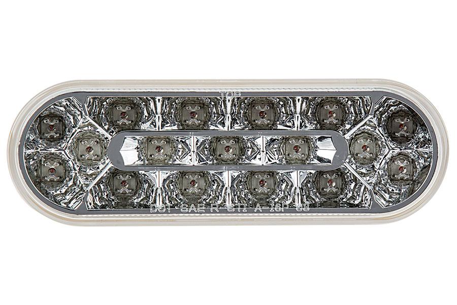 "Oval LED Truck Lights and Trailer Lights w/ Clear Lens - 6"" LED  Brake/Turn/Tail Lights - 3-Pin Connector - Flush Mount - 17 LEDs"
