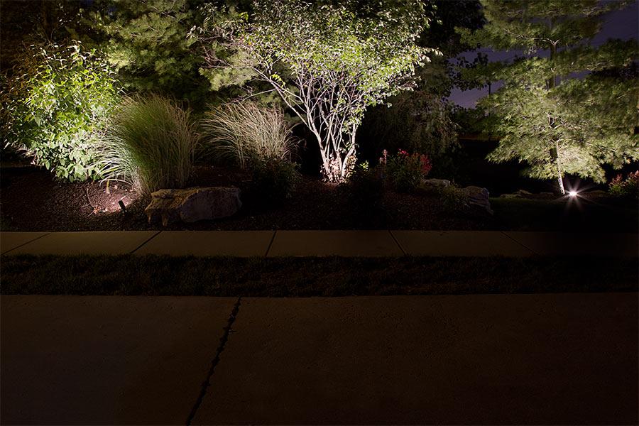 Weatherproof par36 led landscape light bulb 60 watt equivalent weatherproof par36 led bulb 70 watt equivalent screw pin led flood bulb installed in subdivision entrance landscaping aloadofball Images