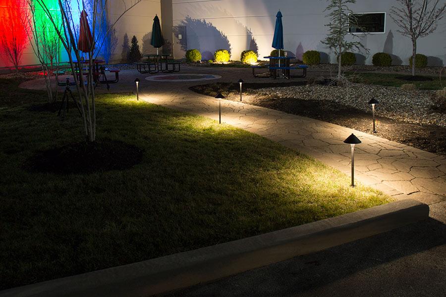 Landscape LED Path Lights w/ Hammered Shade - 3 Watt - Adjustable Height Shown Installed Along Footpath. & Landscape LED Path Lights w/ Hammered Shade - 3 Watt - 15 Watt ...