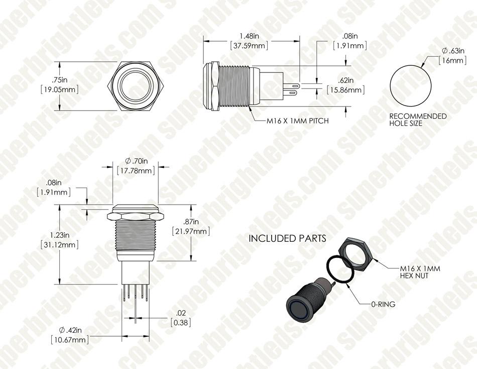 "led switch 250vac wiring diagram wiring diagram schematics push button light switch wiring diagram amazon com quentacy 19mm 3 4"" metal"