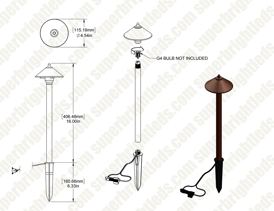 Landscape LED Ready Path Lights w/ Cone Shade - Optional G4 LED Bulb