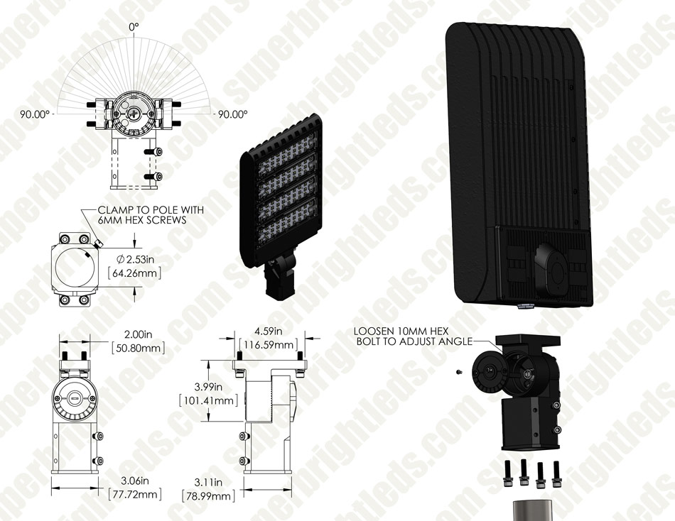 LED Parking Lot Light - 300W (1,000W MH Equivalent) LED Shoebox Area Light - 5000K - 39,000 Lumens