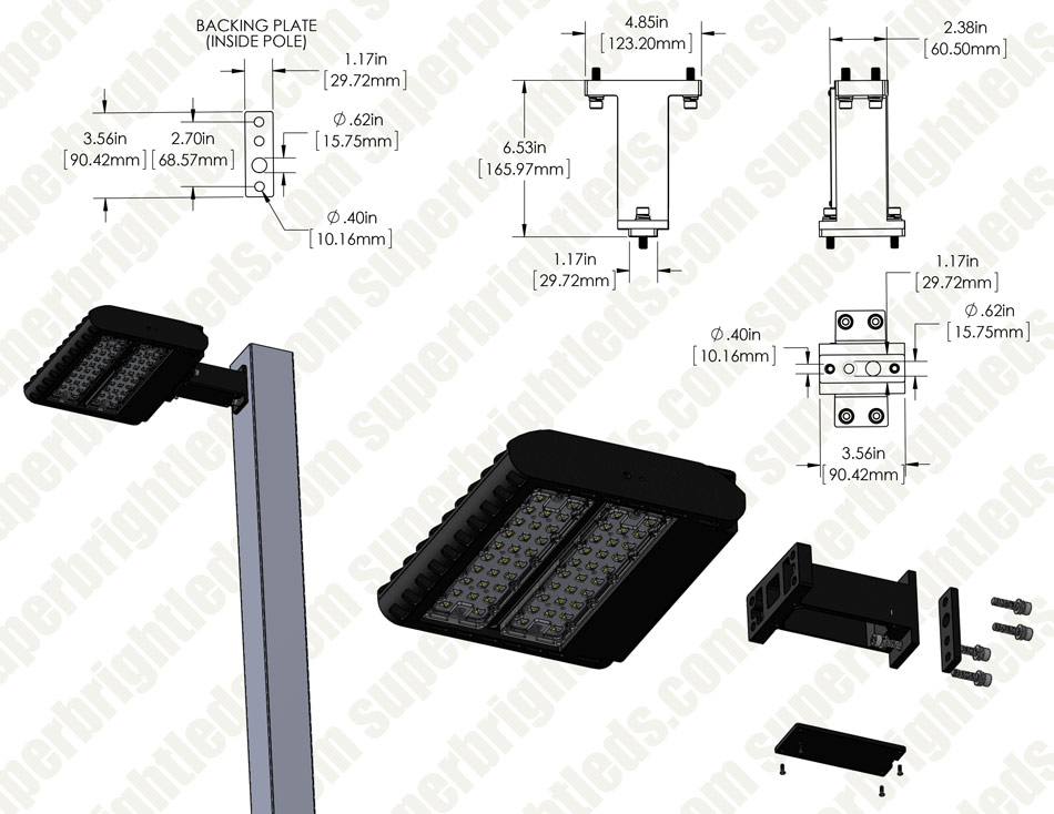 Square Mount Fixed Arm Kit for LED Shoebox Area Light