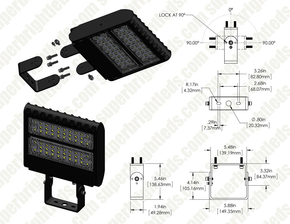 Adjustable Wall-Mount Bracket for LED Shoebox Area Lights