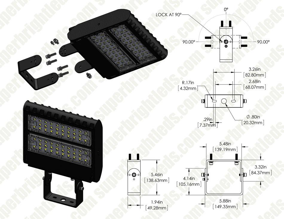Adjustable Wall-Mount Bracket for LED Shoebox Area Lights ...