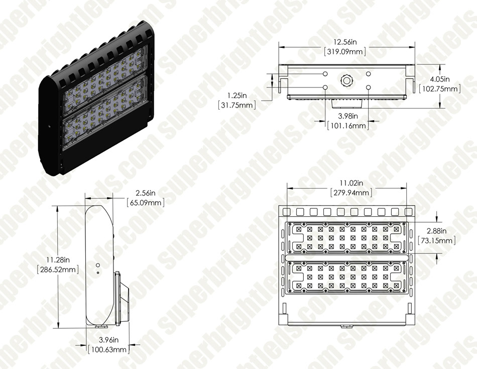 LED Parking Lot Light - 100W (320W/400W MH Equivalent) LED Shoebox Area Light - 5000K - 13,000 Lumens