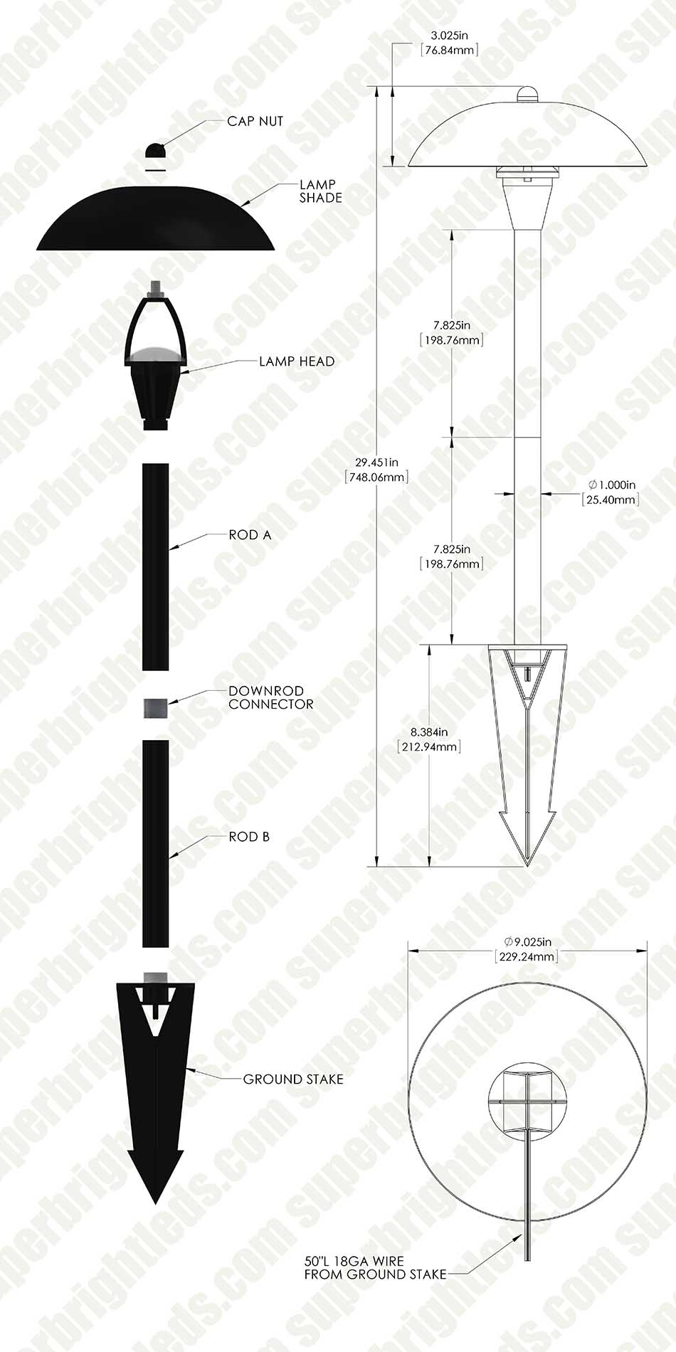 Landscape LED Path Lights w/ Hammered Shade - 3 Watt - Adjustable Height