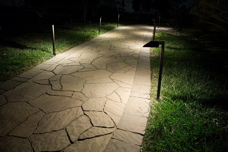 Landscape LED Path Lights w/ Offset 5  Square Light Head - 1 Watt - 22 Lumens Illuminating Pathway & Landscape LED Path Lights w/ Offset 5