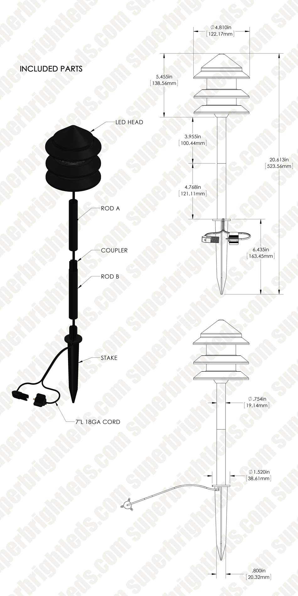 Landscape LED Path Lights w/ Triple Tier Pagoda Style Light Head - 1 Watt