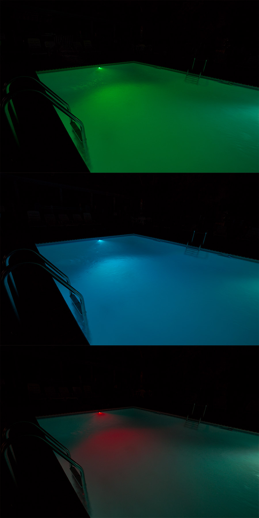 RGB LED Underwater Boat Lights and Dock Lights - Single Lens - 60W Shown Lighting Pool In Green (Top) Blue (Center) And Red (Bottom) Color Modes. & RGB LED Underwater Pool Lights and Fountain/Pond Lights - Single ...