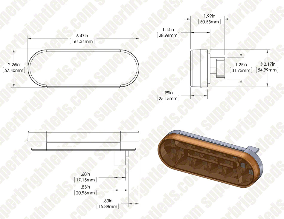 """[SCHEMATICS_49CH]  Oval LED Truck Lights and Trailer Lights - 6"""" LED Brake/Turn/Tail Lights -  3-Pin Connector - Flush Mount - 17 LEDs   Super Bright LEDs   Oval Trailer Light Wiring Diagram For 6      Super Bright LEDs"""