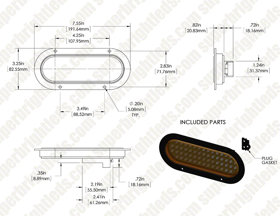 "Oval LED Truck Trailer Light with Built In Flange - 6"" LED Stop Turn Tail Light with 56 LEDs"