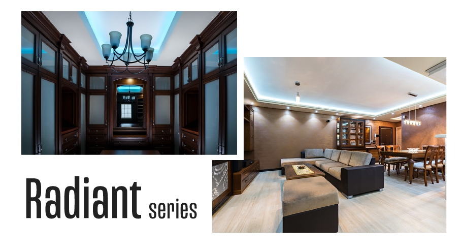 Radiant series strip lights are perfect for colorful accent lighting or general lighting in coves or task lighting.