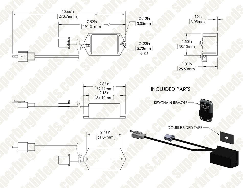 Wireless Remote Control Switch with Key Fob for Wire Harnesses