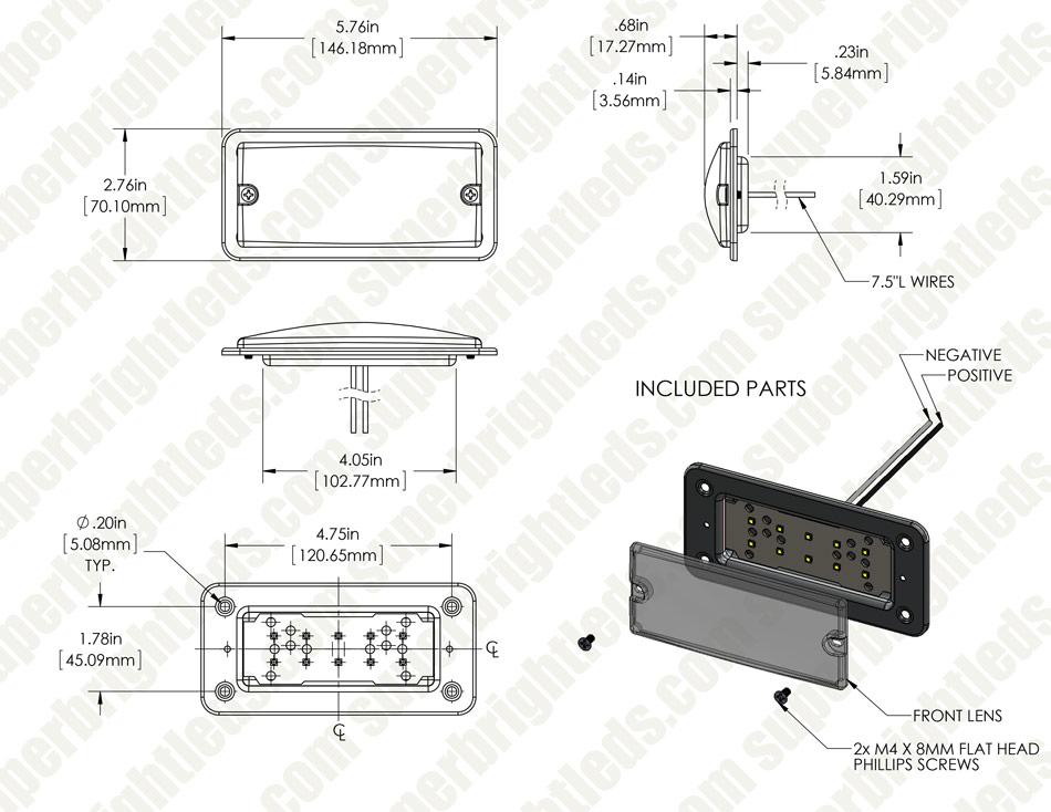 "6"" rectangular led dome light fixture - 30 watt equivalent - 275 lumens"