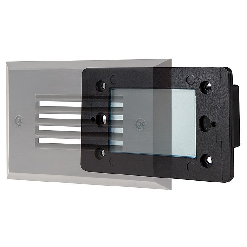 led step lights rectangular deck step accent light w frosted lens. Black Bedroom Furniture Sets. Home Design Ideas