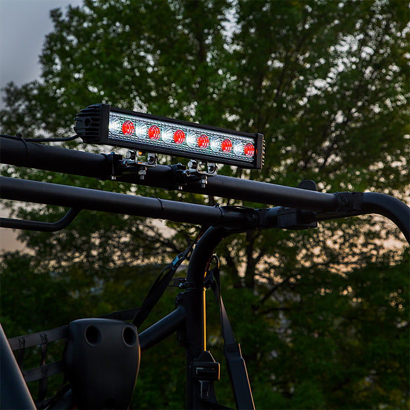 18 redwhite led off road light bar 24w 2750 lumens super 18 redwhite led off road light bar 24w installed on utv aloadofball Image collections
