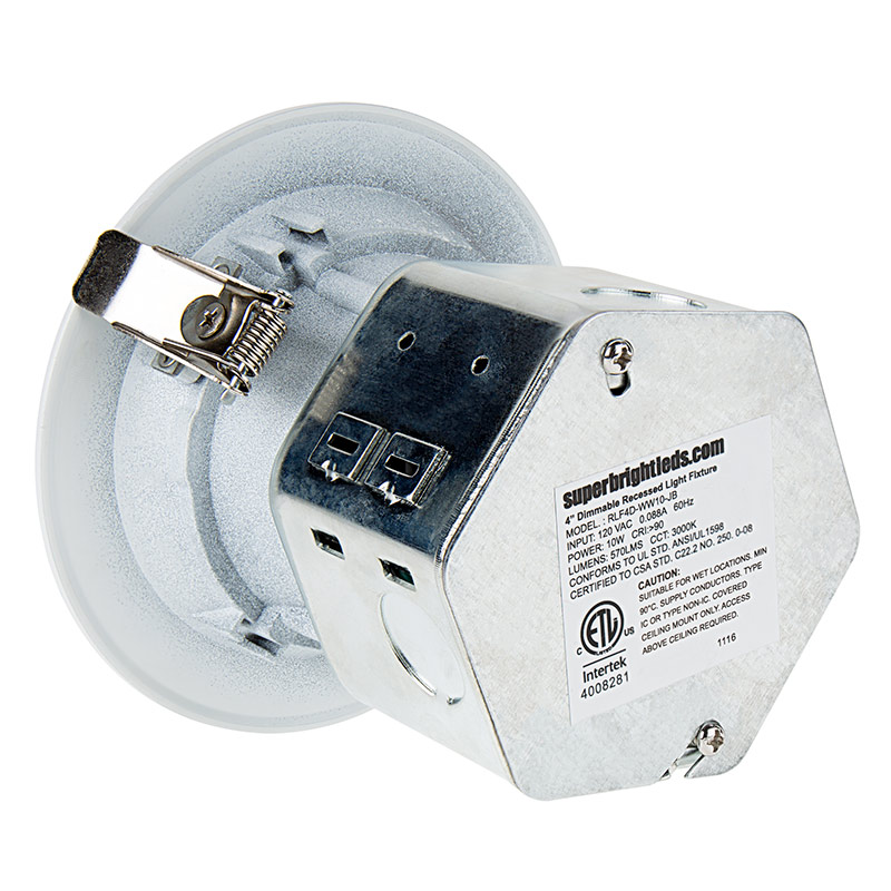 4 recessed led downlight w built in junction box and baffle trim replacement led downlights for 4 fixtures 65 watt equivalent led can light replacement integral junction box 650 lumens back view cheapraybanclubmaster Image collections