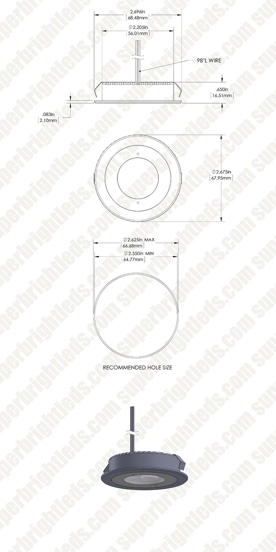 Led Recessed Light Fixture 25 Watt Equivalent 235 Lumens Super Cree Lighting Wiring Diagram 3 Xpe