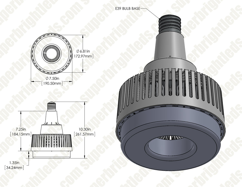 80W LED Retrofit Lamp - 175W Equivalent HID Conversion- E39/E40 Mogul Base - 9,600 Lumens - 5000K/4000K - Ballast Bypass