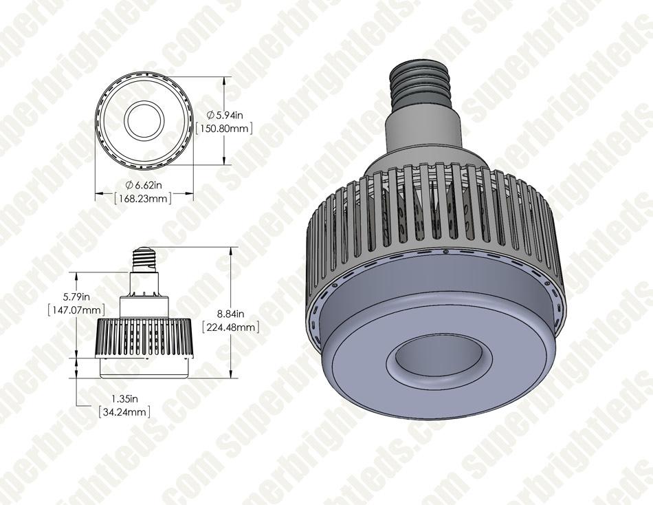 60w Led Retrofit Bulb For Hid Lamps 7 200 Lumens 250w