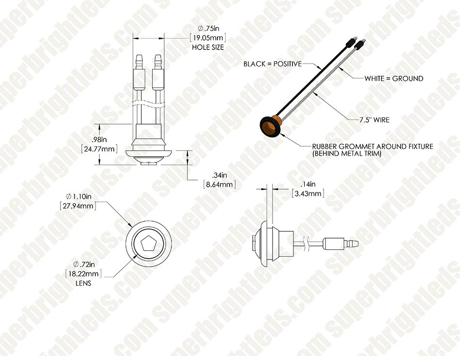 """Round LED Truck and Trailer Lights w/ Grommet - 3/4"""" PC Rated LED on 4 wire trailer wiring diagram, 4 pole trailer wiring diagram, 4 flat trailer wiring diagram, 4 way trailer wiring diagram, 4 pin trailer wiring diagram, 4 plug trailer wiring diagram, 4 prong trailer wiring diagram,"""