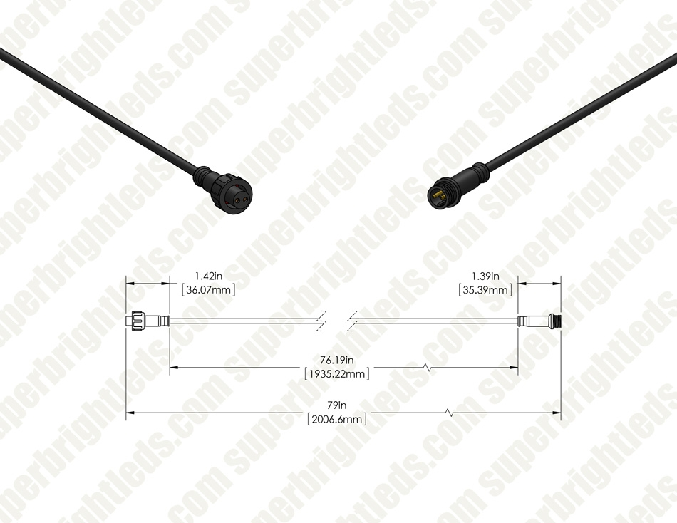 Extension Cable for Single-Color LED Step/Deck Lights
