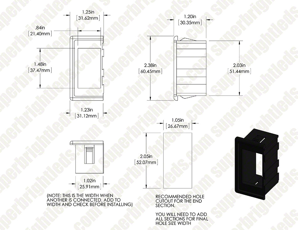 Modular Rocker Switch Bracket - End Panel