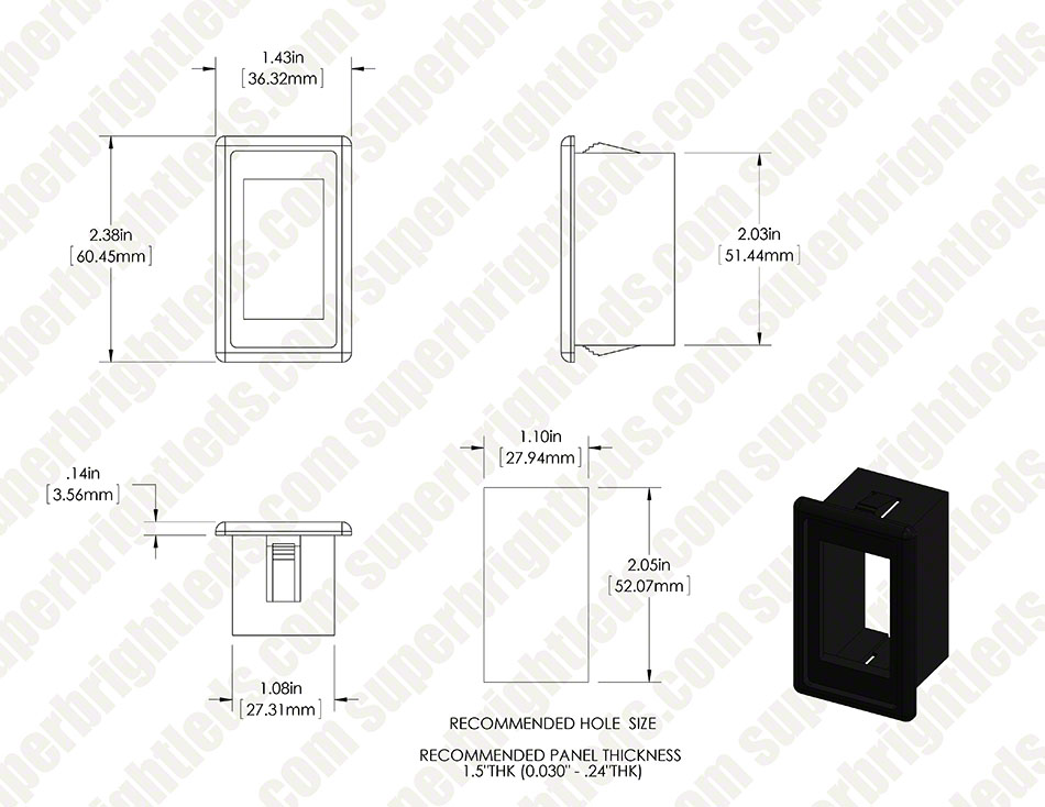 Modular Rocker Switch Bracket - Side Panel