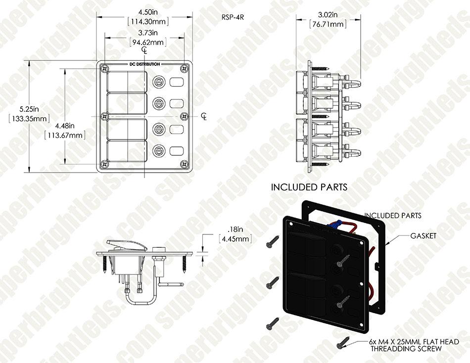 LED Rocker Switch Panels with Fuse - Weatherproof DC Distribution ...