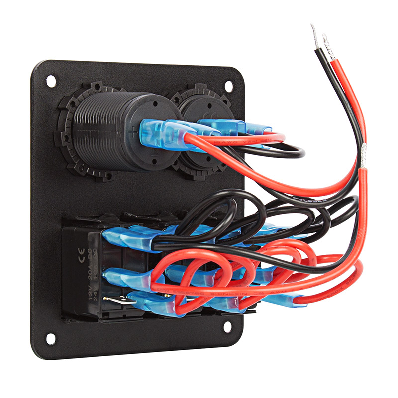 Led Rocker Switch Panel With Voltmeter And Dual Usb Port