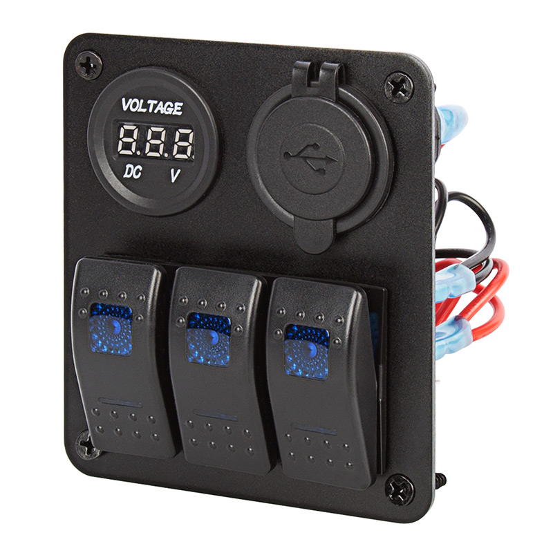 4 Gang ON//Off Quickly Charge 2 USB Car Charger Switch Panel Environmental Waterproof DC Toggle Switch Panel Blue