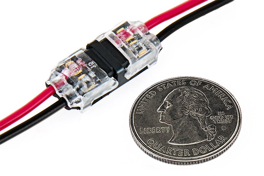 24 18 Awg Wire Splice Connectors Single Dual Channel Terminal Splice Taps Quarter Comparison Two Wire