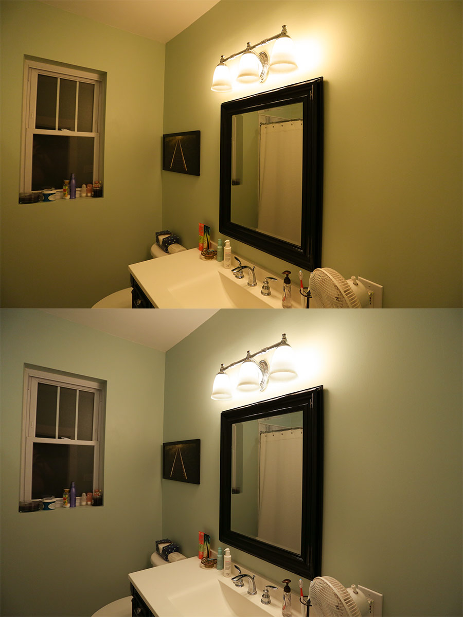 Charming LED Filament Bulb   Silver Tipped A19 LED Bulb W/ Filament LED   Dimmable:  Shown Installed In Bathroom Vanity In Ultra Warm White (Top) And Warm White  ...
