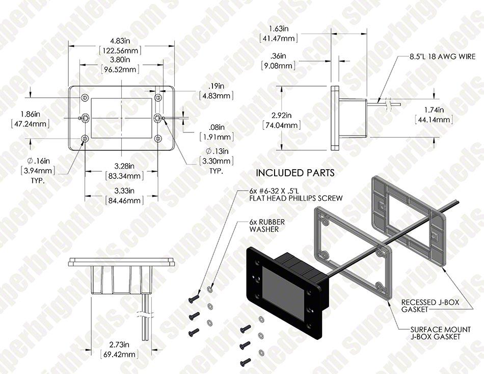 Lighting Basement Washroom Stairs: Rectangular Deck / Step Accent Light W